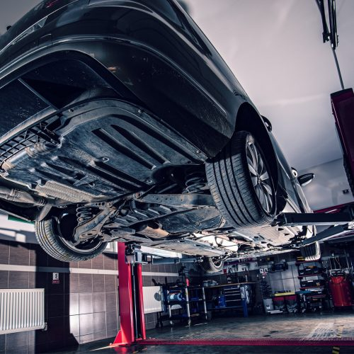Lifted car in garage